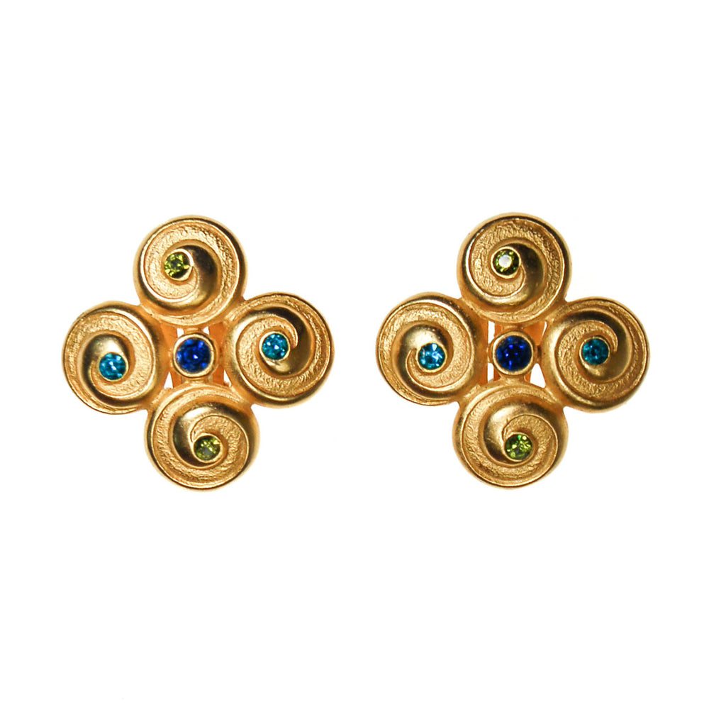 Anne Klein Couture Etruscan Earrings Brushed Gold Tone with Blue and Green Rhinestones - Vintage Meet Modern  - 2