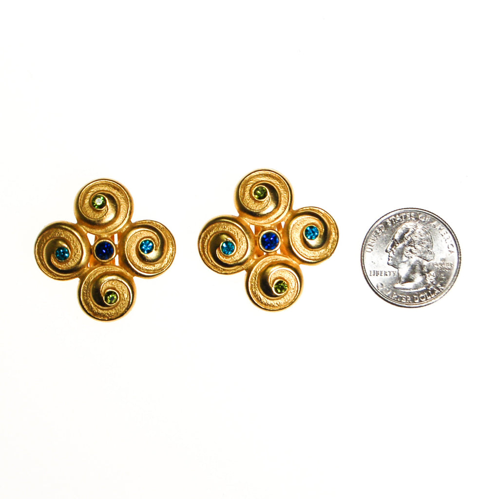Anne Klein Couture Etruscan Earrings Brushed Gold Tone with Blue and Green Rhinestones - Vintage Meet Modern  - 3