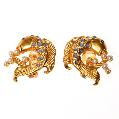 Elizabeth Taylor Sea Shimmer Jumping Koi Fish Earrings by Elizabeth Taylor for Avon - Vintage Meet Modern Vintage Jewelry - Chicago, Illinois - #oldhollywoodglamour #vintagemeetmodern #designervintage #jewelrybox #antiquejewelry #vintagejewelry