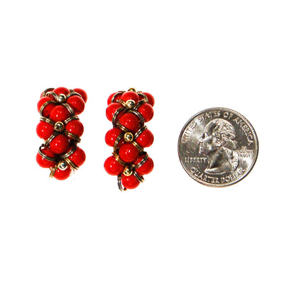 Retro Red Beaded Hoop Earrings by Unsigned Beauty - Vintage Meet Modern - Chicago, Illinois