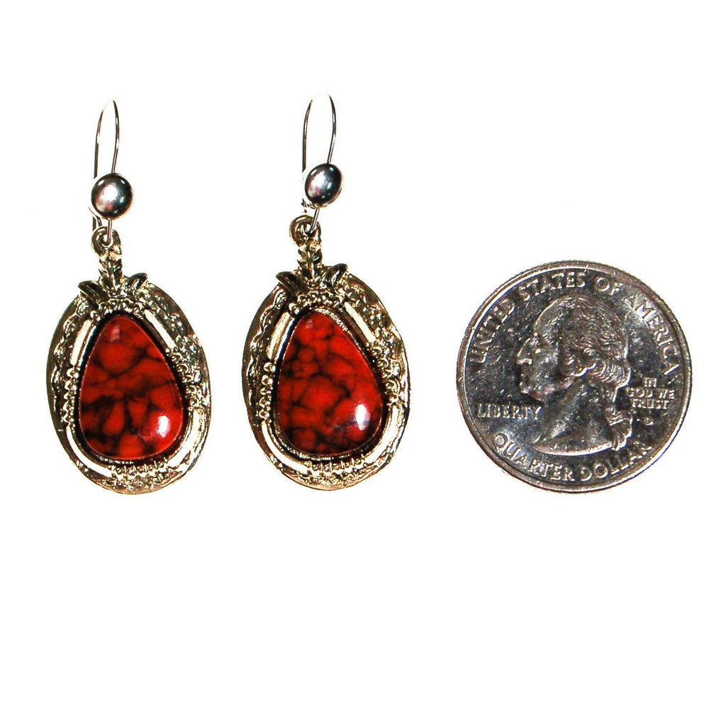 Southwestern Bohemian Chic Red Coral Earrings by ART MODE - Vintage Meet Modern  - 3