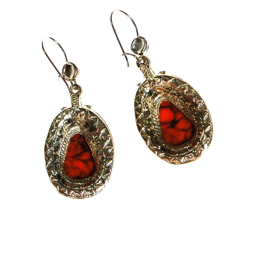 Southwestern Bohemian Chic Red Coral Earrings by ART MODE - Vintage Meet Modern  - 4