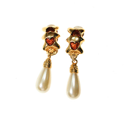 Gold Heart and Pearl Drop Earrings by Unsigned Beauty - Vintage Meet Modern - Chicago, Illinois