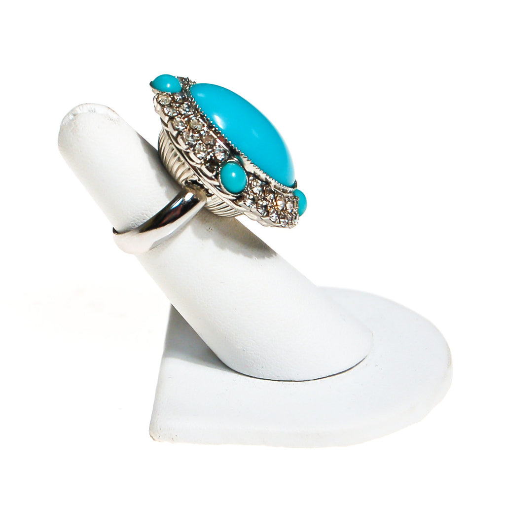 Vintage Turquoise Glass and Rhinestone Statement Ring - Vintage Meet Modern  - 3