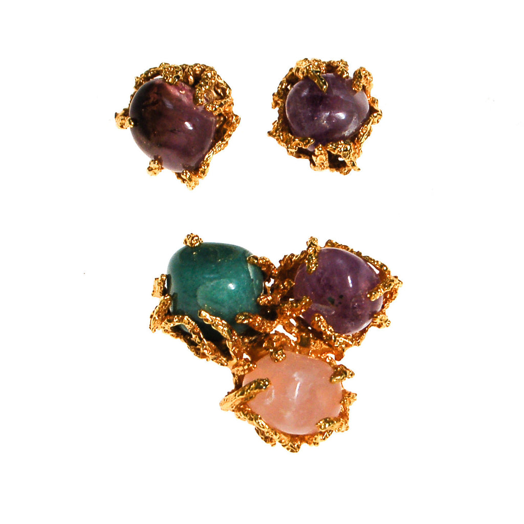 Vogue Jewelry Green,Purple Jade and Rose Quartz Brooch and Earrings Set - Vintage Meet Modern  - 4