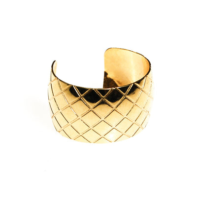 Gold Quilted Cuff Bracelet by Unsigned Beauty - Vintage Meet Modern Vintage Jewelry - Chicago, Illinois - #oldhollywoodglamour #vintagemeetmodern #designervintage #jewelrybox #antiquejewelry #vintagejewelry