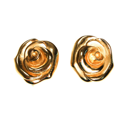 Crown Trifari Gold Rose Earrings by Crown Trifari - Vintage Meet Modern Vintage Jewelry - Chicago, Illinois - #oldhollywoodglamour #vintagemeetmodern #designervintage #jewelrybox #antiquejewelry #vintagejewelry
