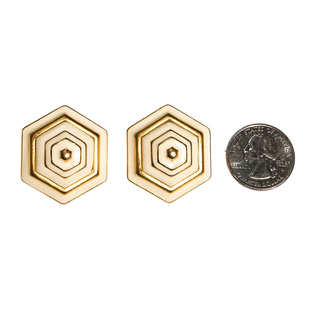 Erwin Pearl White and Gold Earrings, Hexagon, Clip On, 1980s, Designer Vintage Jewelry - Vintage Meet Modern  - 2