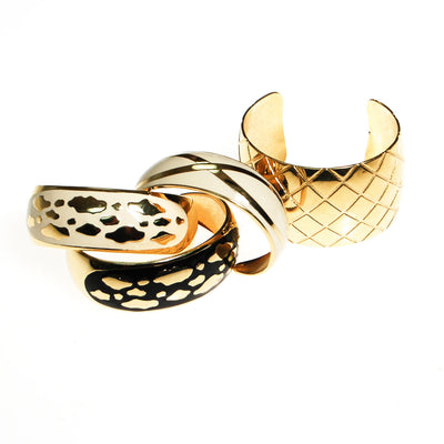 White and Gold Leopard Print Cuff Bracelet by Unsigned Beauty - Vintage Meet Modern Vintage Jewelry - Chicago, Illinois - #oldhollywoodglamour #vintagemeetmodern #designervintage #jewelrybox #antiquejewelry #vintagejewelry