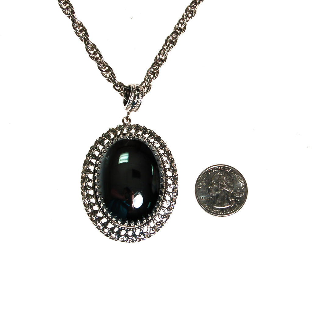 Whiting and Davis Hematite Pendant Necklace - Vintage Meet Modern  - 3
