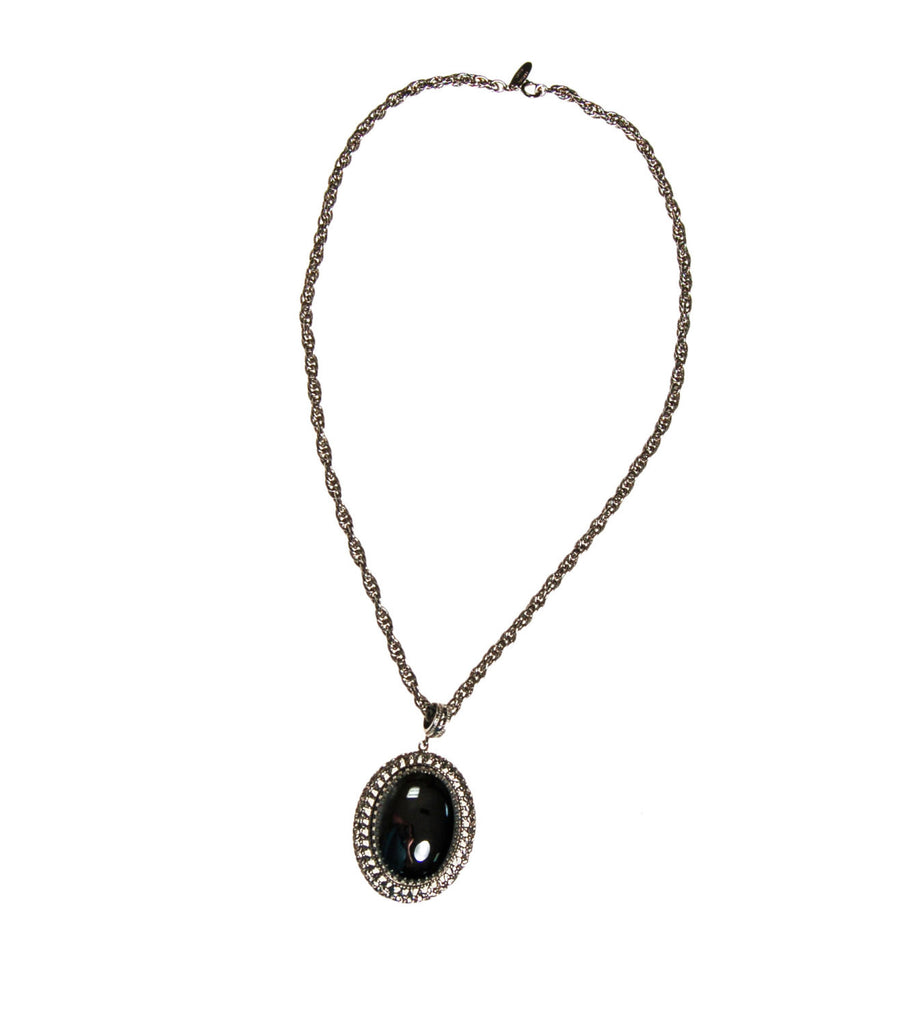 Whiting and Davis Hematite Pendant Necklace - Vintage Meet Modern  - 2