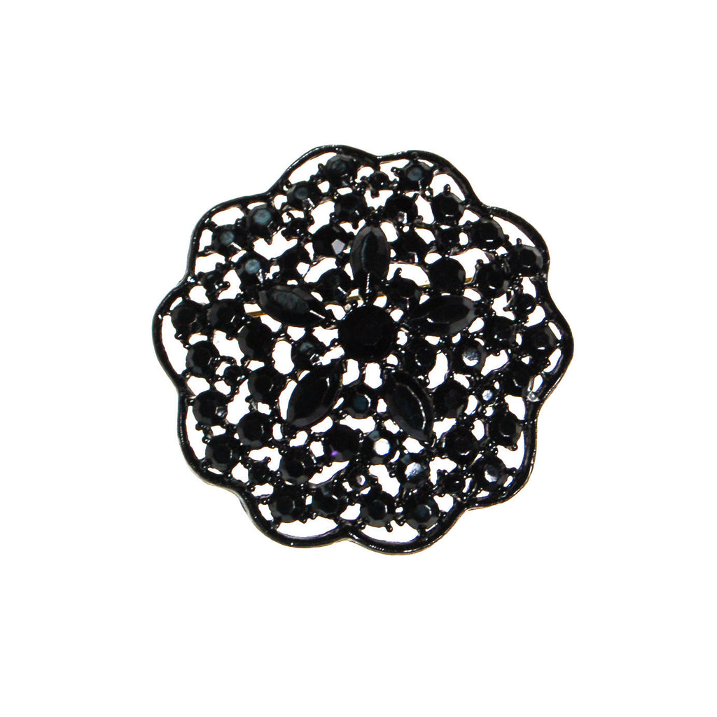 Black Rhinestone Medallion Brooch by MJ Lent - Vintage Meet Modern  - 1