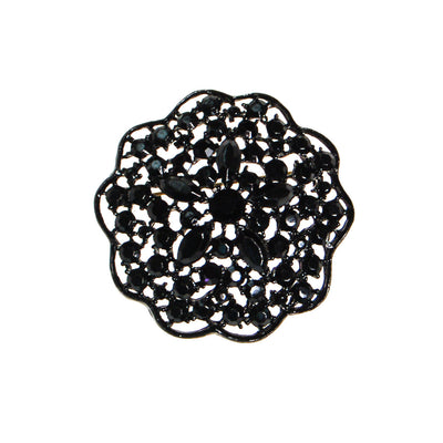 Black Rhinestone Medallion Brooch by MJ Lent by MJ Lent - Vintage Meet Modern - Chicago, Illinois