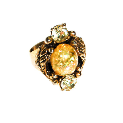 Golden Faux Opal and Citrine Rhinestone Statement Ring by Unsigned Beauty - Vintage Meet Modern - Chicago, Illinois