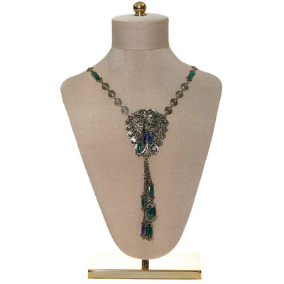 Victorian Gothic Statement Necklace with  Blue and Green Crystal Tassels by Unsigned Beauty - Vintage Meet Modern - Chicago, Illinois