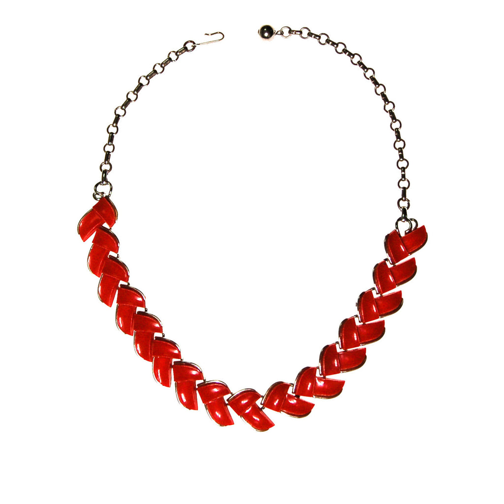 Retro Red Thermoset Necklace by Lisner - Vintage Meet Modern  - 1