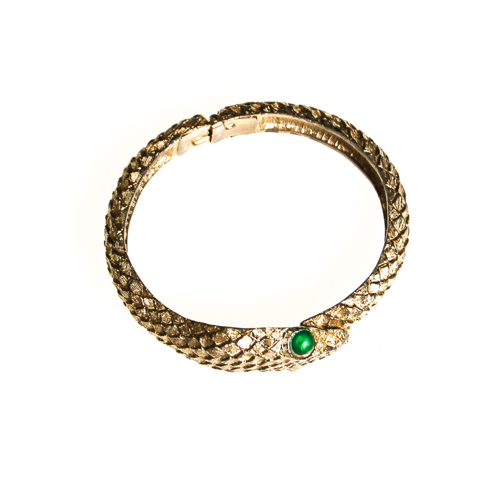 Gold Snake Bracelet with Emerald Green Eyes - Vintage Meet Modern  - 2