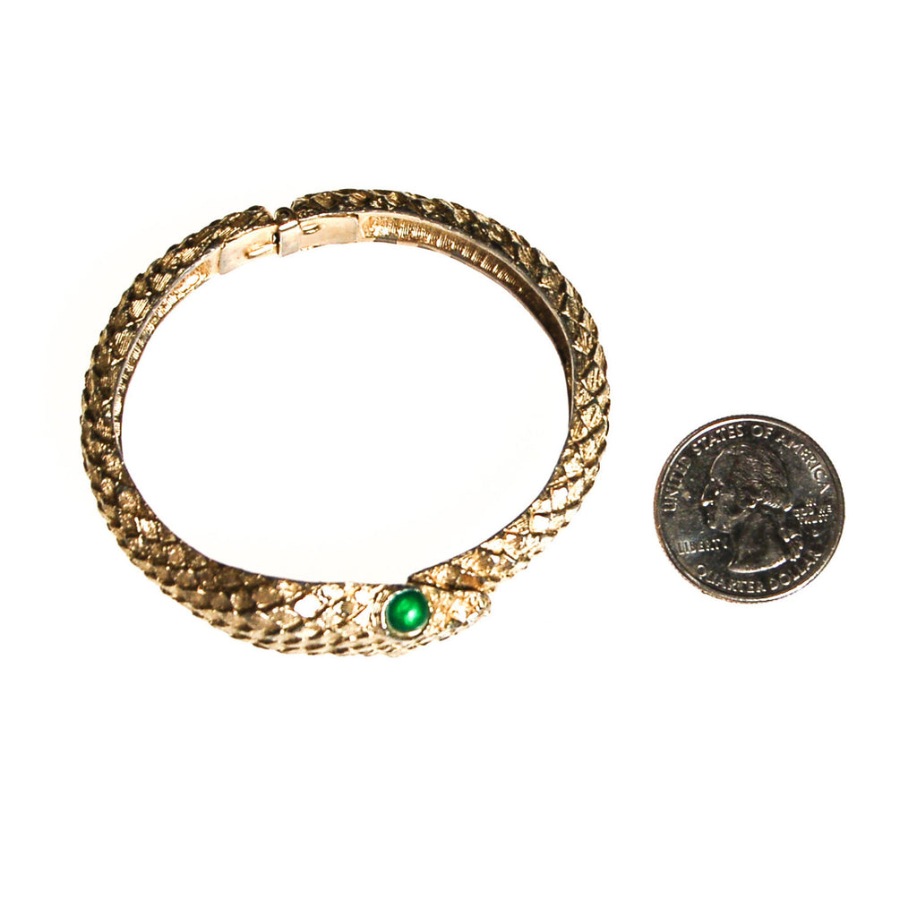 Gold Snake Bracelet with Emerald Green Eyes - Vintage Meet Modern  - 3