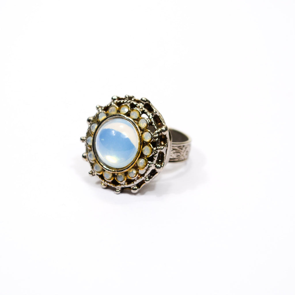 Opaline Glass Statement Ring - Vintage Meet Modern  - 1