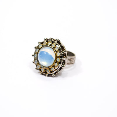 Opaline Glass Statement Ring by Unsigned Beauty - Vintage Meet Modern Vintage Jewelry - Chicago, Illinois - #oldhollywoodglamour #vintagemeetmodern #designervintage #jewelrybox #antiquejewelry #vintagejewelry
