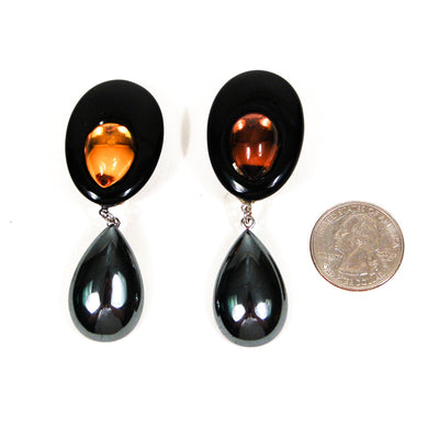 Wendy Gell Statement Earrings in Black with Amber Glass & Hematite by Wendy Gell - Vintage Meet Modern Vintage Jewelry - Chicago, Illinois - #oldhollywoodglamour #vintagemeetmodern #designervintage #jewelrybox #antiquejewelry #vintagejewelry