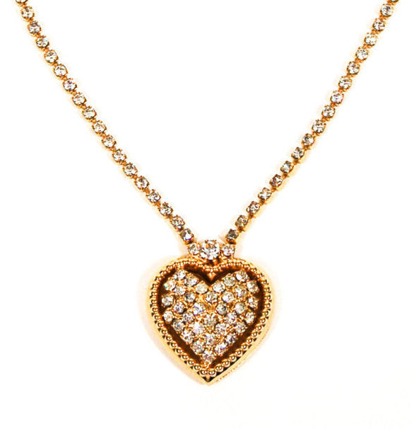 Rhinestones Heart Necklace in Gold Tone, Necklace - Vintage Meet Modern