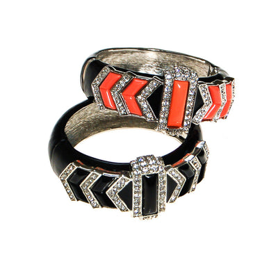 Kenneth Lane Black and Coral Bracelet by Kenneth Lane - Vintage Meet Modern - Chicago, Illinois
