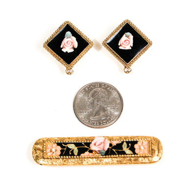 Art Deco Pink Rose and Pearl Bar Pin Brooch and Earring Set by Unsigned Beauty - Vintage Meet Modern Vintage Jewelry - Chicago, Illinois - #oldhollywoodglamour #vintagemeetmodern #designervintage #jewelrybox #antiquejewelry #vintagejewelry