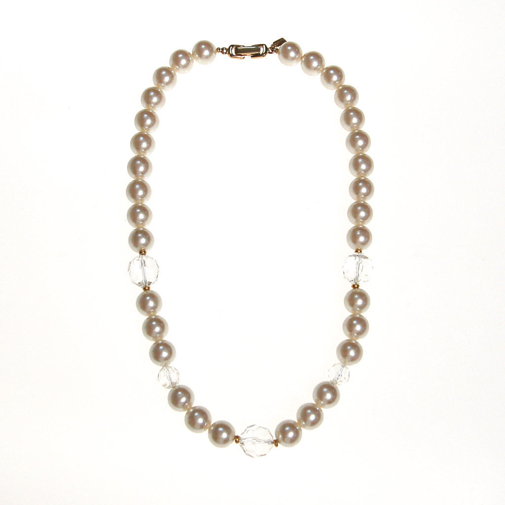Marvella Pearl and Crystal Necklace - Vintage Meet Modern  - 1