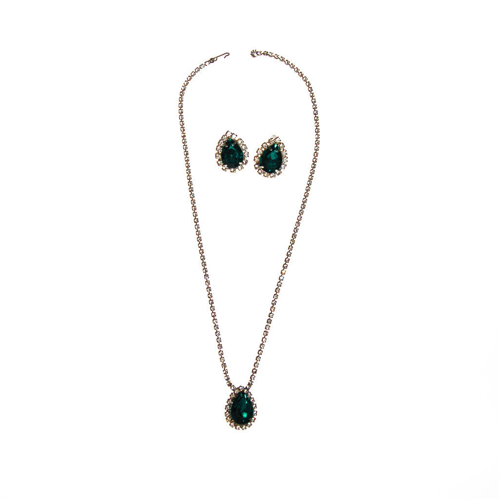 Emerald Green Rhinestones Necklace and Earrings Set - Vintage Meet Modern  - 1