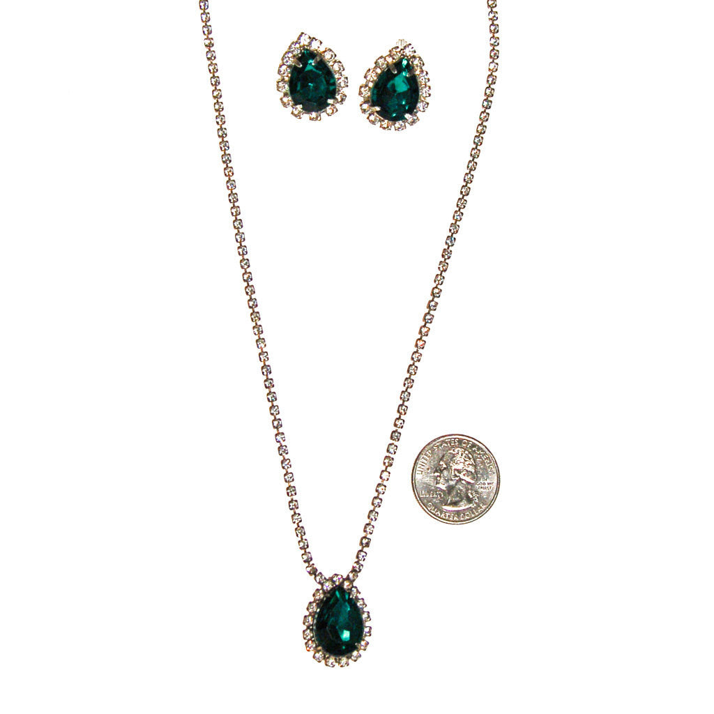 Emerald Green Rhinestones Necklace and Earrings Set - Vintage Meet Modern  - 3
