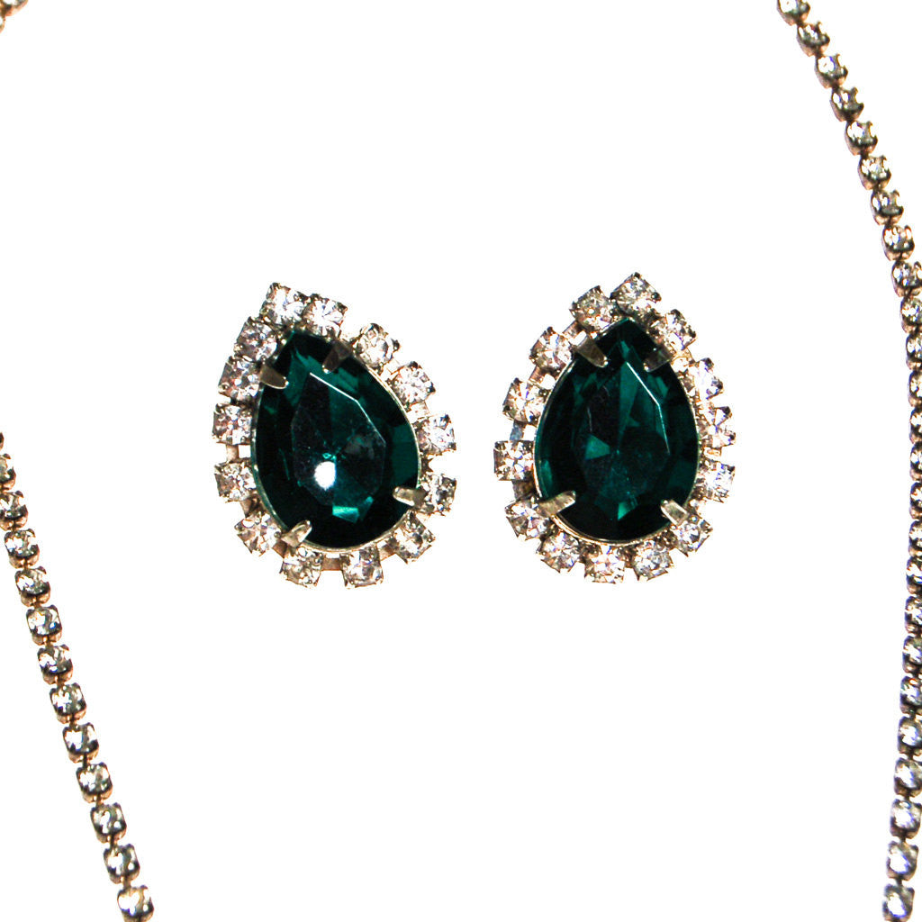 Emerald Green Rhinestones Necklace and Earrings Set - Vintage Meet Modern  - 2