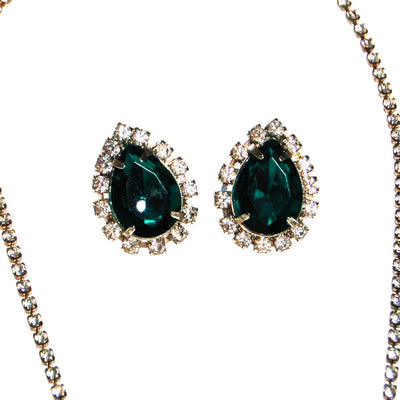Emerald Green Rhinestones Necklace and Earrings Set by Unsigned Beauty - Vintage Meet Modern Vintage Jewelry - Chicago, Illinois - #oldhollywoodglamour #vintagemeetmodern #designervintage #jewelrybox #antiquejewelry #vintagejewelry