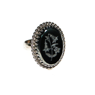 Whiting and Davis Gilded Lily Etched Hematite Statement Ring by Whiting and Davis - Vintage Meet Modern - Chicago, Illinois