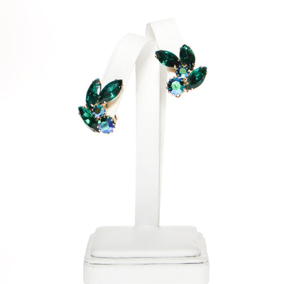 Weiss Peacock Blue Green Rhinestone Earrings by Weiss - Vintage Meet Modern - Chicago, Illinois