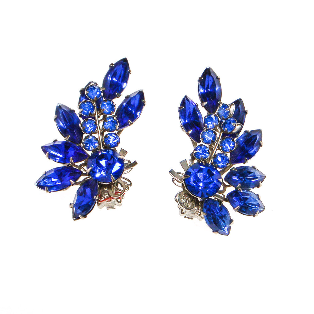 Bright Blue Rhinestone Ear Crawler Statement Earrings, Earrings - Vintage Meet Modern