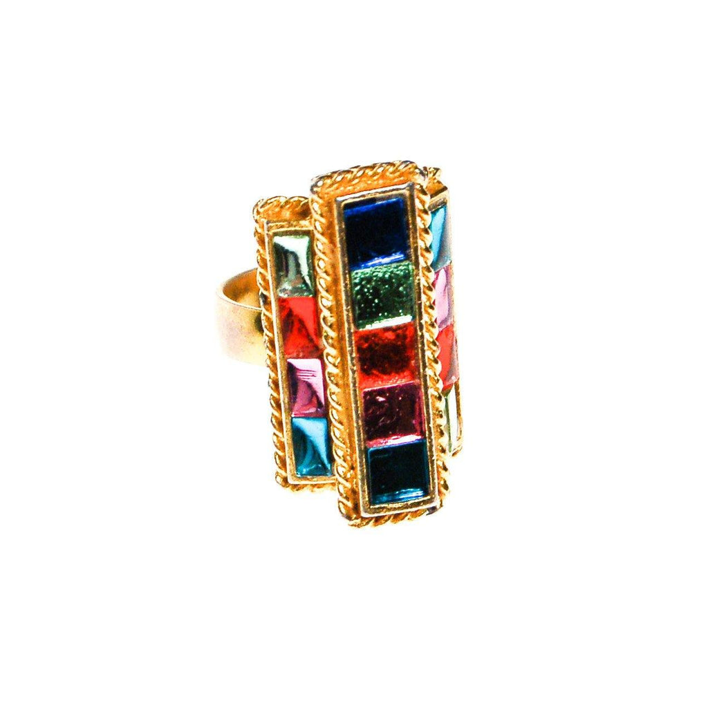 Uncas Colorful Rhinestone Statement Ring, Cocktail, Stained Glass, Baguette and Channel Set, Gold Tone, Adjustable Size - Vintage Meet Modern  - 2