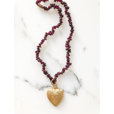 Garnet and Gold Heart Pendant Necklace by Artisan - Vintage Meet Modern Vintage Jewelry - Chicago, Illinois - #oldhollywoodglamour #vintagemeetmodern #designervintage #jewelrybox #antiquejewelry #vintagejewelry