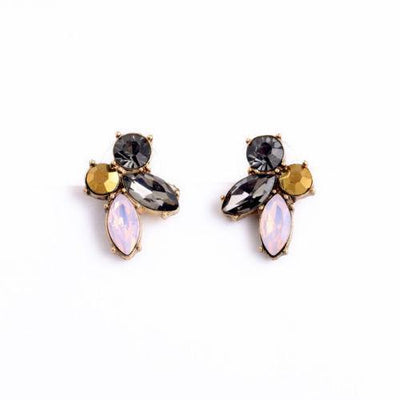 Gray, Gold, Pink, and Smoke Rhinestone Statement Earrings by Vintage Meet Modern  - Vintage Meet Modern Vintage Jewelry - Chicago, Illinois - #oldhollywoodglamour #vintagemeetmodern #designervintage #jewelrybox #antiquejewelry #vintagejewelry