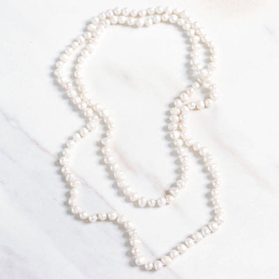 Vintage Cultured Pearl Infinity Strand Necklace by Unsigned Beauty - Vintage Meet Modern Vintage Jewelry - Chicago, Illinois - #oldhollywoodglamour #vintagemeetmodern #designervintage #jewelrybox #antiquejewelry #vintagejewelry