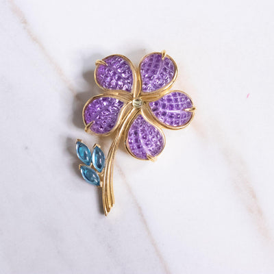 Vintage Avon Purple and Blue Flower Brooch by Avon - Vintage Meet Modern Vintage Jewelry - Chicago, Illinois - #oldhollywoodglamour #vintagemeetmodern #designervintage #jewelrybox #antiquejewelry #vintagejewelry