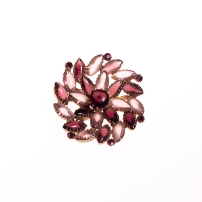 Vintage Shades of Purple Rhinestone Pinwheel Brooch by Unsigned Beauty - Vintage Meet Modern Vintage Jewelry - Chicago, Illinois - #oldhollywoodglamour #vintagemeetmodern #designervintage #jewelrybox #antiquejewelry #vintagejewelry