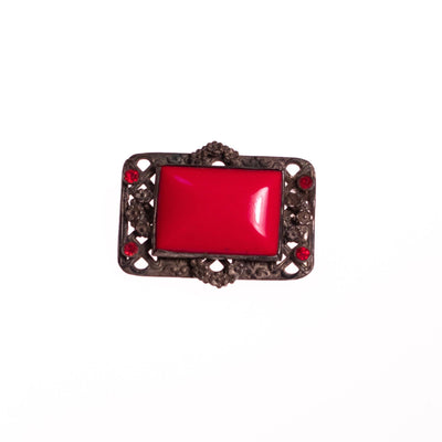 Vintage Czech Red Glass Brooch by Czech - Vintage Meet Modern Vintage Jewelry - Chicago, Illinois - #oldhollywoodglamour #vintagemeetmodern #designervintage #jewelrybox #antiquejewelry #vintagejewelry