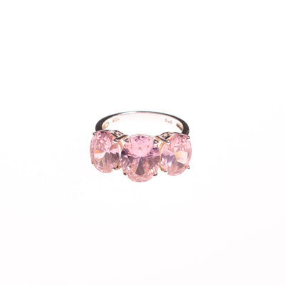 Vintage Pink Oval CZ Three Stone Ring by Sterling Silver - Vintage Meet Modern Vintage Jewelry - Chicago, Illinois - #oldhollywoodglamour #vintagemeetmodern #designervintage #jewelrybox #antiquejewelry #vintagejewelry
