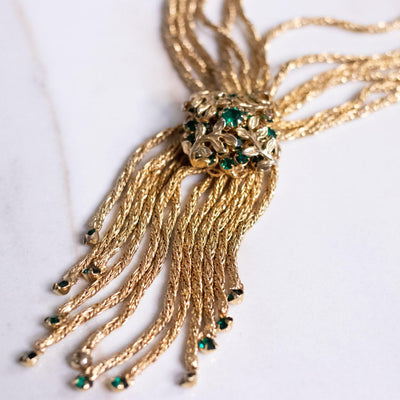 Vintage Emerald Green Rhinestone Tassel Necklace with Braided Rope Chain by Hobe - Vintage Meet Modern Vintage Jewelry - Chicago, Illinois - #oldhollywoodglamour #vintagemeetmodern #designervintage #jewelrybox #antiquejewelry #vintagejewelry