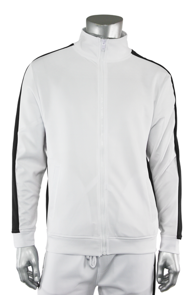 One Stripe Track Jacket White - Black (100-503) - Zamage