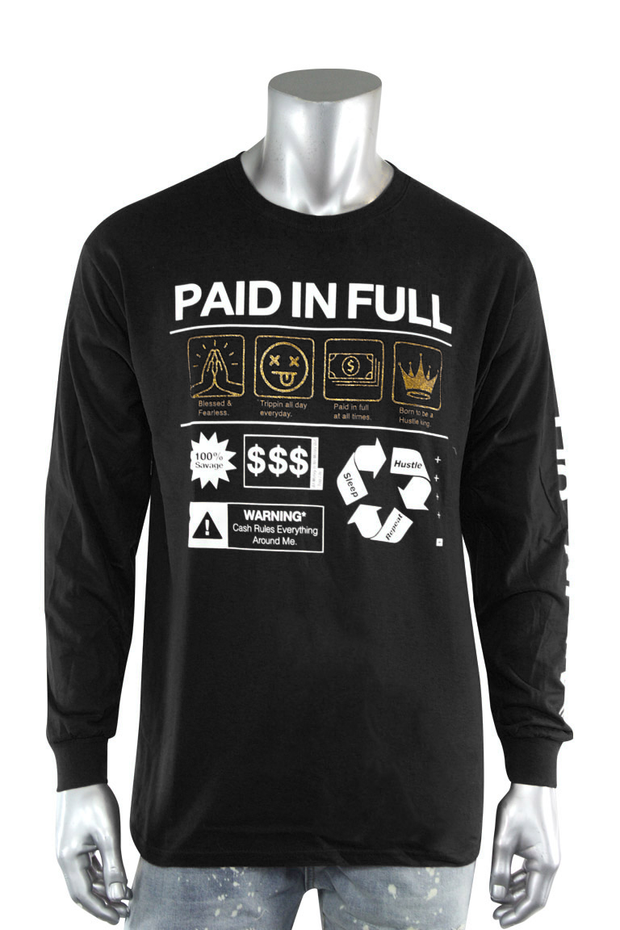 Paid In Full Symbols Long Sleeve Tee Black (2244L)