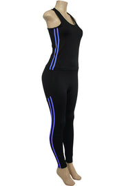Women's Yoga Set Black - Royal Blue (AMBER-524)