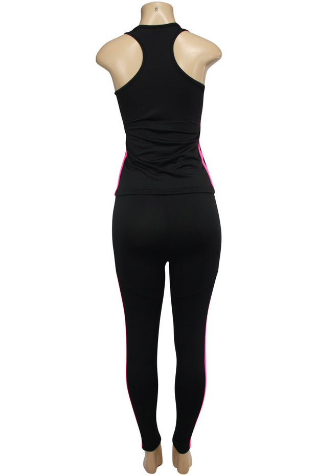 Women's Yoga Set Black - Hot Pink (AMBER-524)