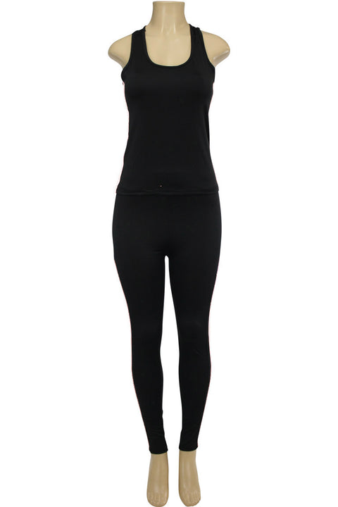 Women's Yoga Set Black - White (AMBER-524)